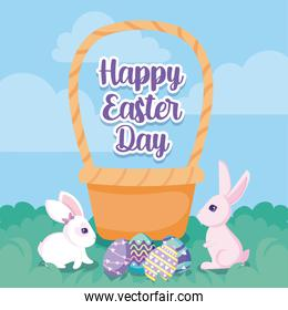 happy easter design of basket, cute rabbits and easter eggs, colorful design
