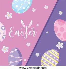 happy easter design with easter eggs with cute decorative styles, colorful design