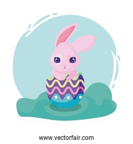 happy easter design with colorful easter egg with cute rabbit