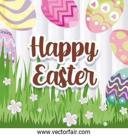 happy easter design with grass, flowers and easter eggs, colorful design