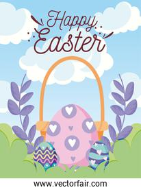 happy easter design with purple decorative wreath, basket and easter eggs, colorful design