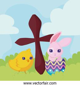 happy easter design with catholic cross, cute chicken and rabbit, colorful design