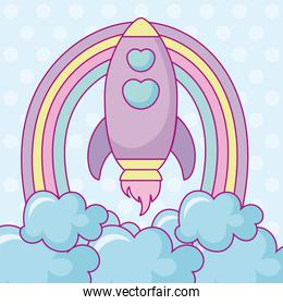 kawaii rocket with clouds and rainbow
