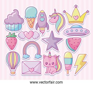 kawaii fruits and related icons over pink background