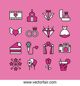 bundle of valentines day line style set icons