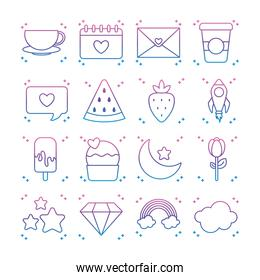 moon and kawaii icon set, gradient line style