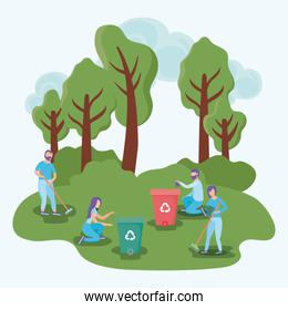 eco friendly scene and people in landscape with garbage cans