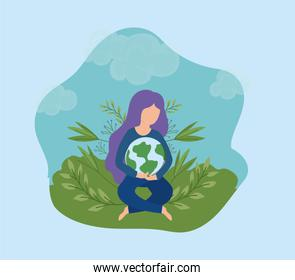 eco friendly scene and woman with planet earth