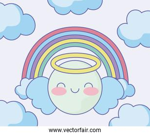 cute angel emoji with rainbow and clouds around over pink background