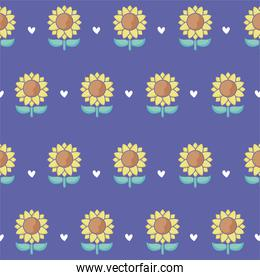 sunflowers and hearts background, colorful design