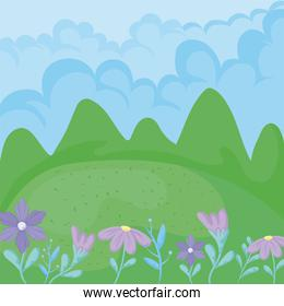 mountains, clouds and beautiful flowers, colorful design