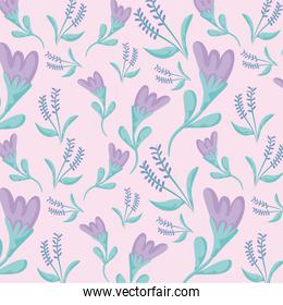 purple flowers and leaves background, colorful design