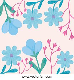Floral pink background with spring flowers