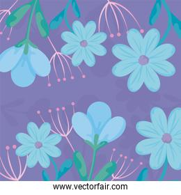 Floral purple background with blue flowers, colorful design