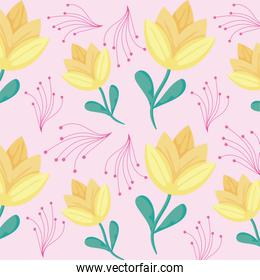 yellow flowers and red leaves background, colorful design