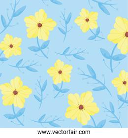 yellow flowers and blue background, colorful design