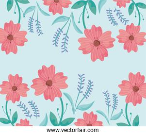 green background with beautiful flowers, colorful design
