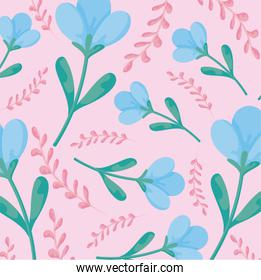 floral background with blue flowers and pink leaves, colorful design