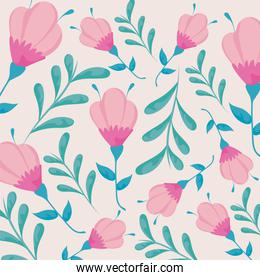Floral background with beautiful leaves and flowers