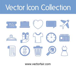 heart and shopping icon set, blue outline style