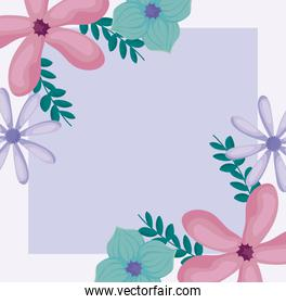 floral design with beautiful green and pink flowers over purple background