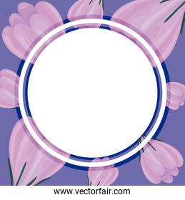 decorative circular frame over floral background with purple flowers, colorful design