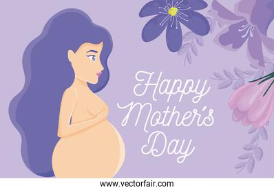 Happy mothers day design with naked pregnant woman and beautiful flowers