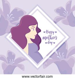 happy mothers day design with decorative rhombus frame with pregnant woman over floral background