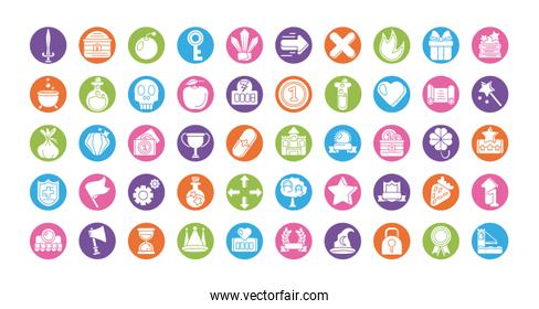 set of icons video game , silhouette style icon