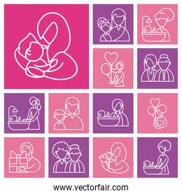 set of cards with mother and baby, line style icon