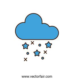 cloud with snowflakes winter icon