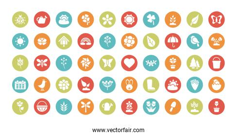 set of spring icons , block and flat style icon