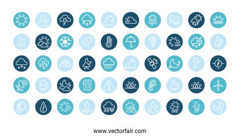 collection icons of weather, block and flat style