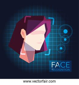 facial recognition technology, woman face identity verification