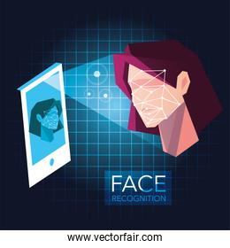 smartphone scans a woman face, mobile app for face recognition
