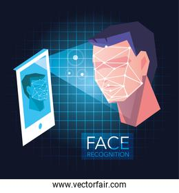 smartphone scans a man face, mobile app for face recognition