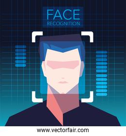 facial recognition technology, man face identity verification
