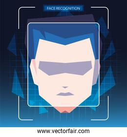 face recognition technology, man with face identification
