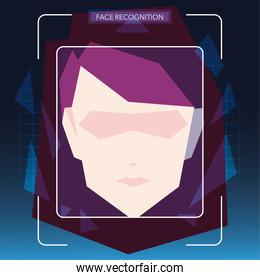 face recognition technology, woman with face identification