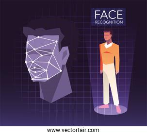 recognition of the man face, digital face identification