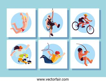 set of cards people in sports activities