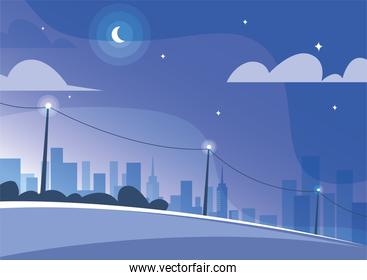 cute landscape of city, cityscape at night