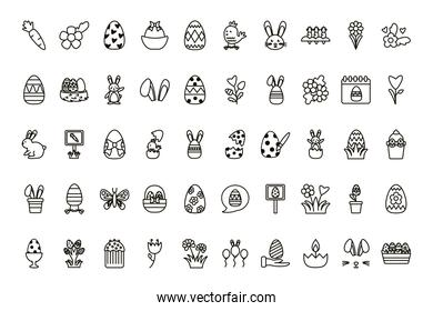 bundle of easter set line icons