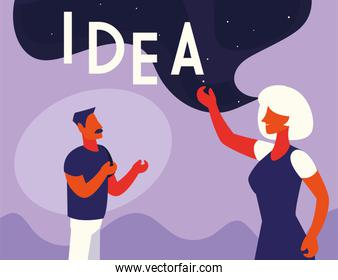 people of business with idea label