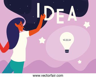 idea lettering with businesswoman and light bulb