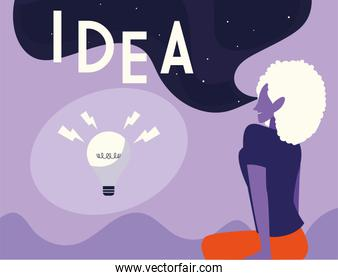 businesswoman with light bulb, people and ideas