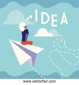 businesswoman with idea label, people and ideas