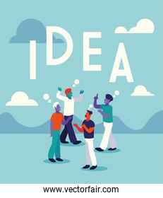 businessmen with idea label, people and ideas