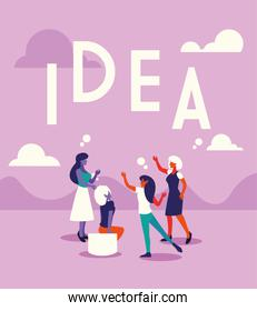 businesswomen with idea label, people and ideas over pink