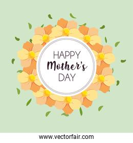 label happy mothers day and flower frame
